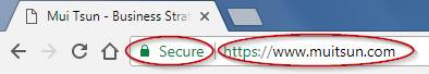Website marked as secure by Google Chrome.