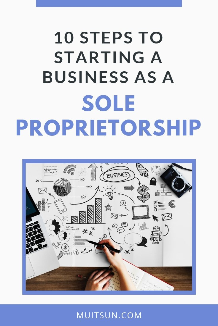 A sole proprietorship is the easiest way to start a business. Check out these 10 steps to starting a sole proprietorship & whether it's right for you. #soleproprietorship #onlinebusiness